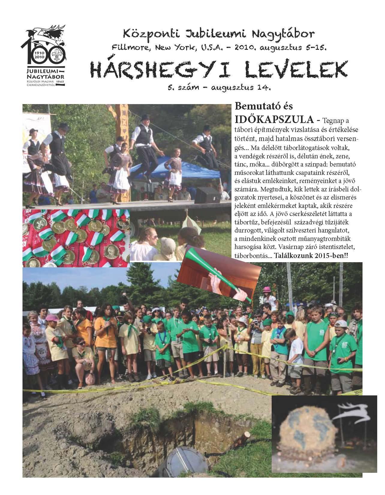 Hárshegyi Levelek 5. szám – 2010. augusztus 14.